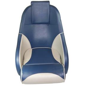 Ocean 51 Deluxe Flip Up Seat w/Rear Pocket/Headrest - Dk.Blue/Grey