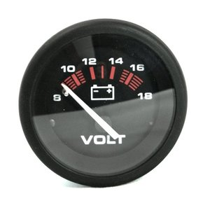 Black 50mm Voltmeter (8-16 volts)