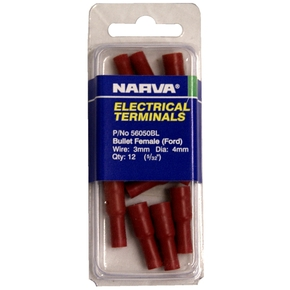 56050BL Red Female Electrical Bullet Terminals - 14-pk (3mm Wire)