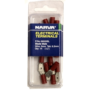 56020BL Red Electrical Terminal Male Spades - Pack of 14 (3mm Wire)