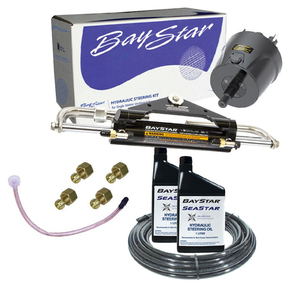 Premium Hydraulic Outboard Steering Kit to 150hp - Front Mt (15M Hose)