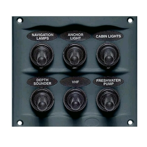 900-6WP Grey 6 Switch Marine Panel- Waterproof- 12 volt