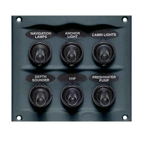 900-6WP Grey 6 Switch Marine Panel- Waterproof- 12 volt