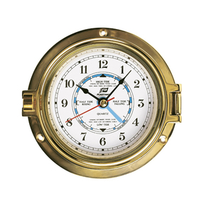 "4.5"" Traditional Brass Porthole Time & Tide Clock"