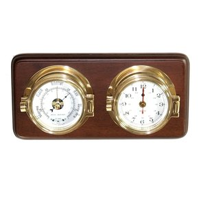 "3"" Brass Time & Tide Clock and Barometer on Teak"