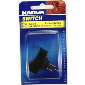 2 Position Red Led On / Off Rocker Switch- 12v / 25 Amp max (lg)