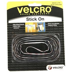 25mm Wide Black Heavy Duty Stick On Velcro - 1 Metre Pk