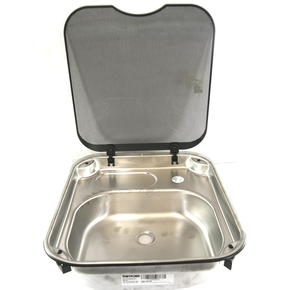 SS Marine / RV Sink with Glass Lid- 400w X 445dmm