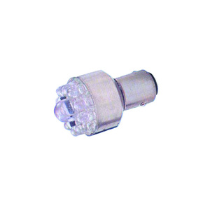 12/24v LED BA15D Bulb W/White-Dbl Contacts-Parallel Pins