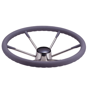 "6 Spoke SS Steering Wheel - 13.5"" - Grey Grip"