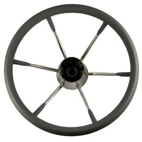 """6 Spoke SS Steering Wheel - 13.5"""" - Grey Grip"""