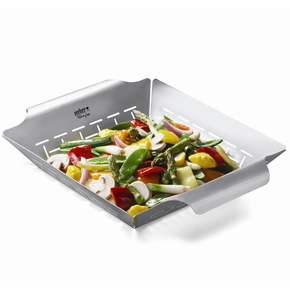 6434 Stainless Steel  Barbeque BBQ Vegetable (Veggie) Grill Basket - Large
