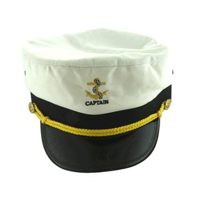White Captains Hat with Rope- Size L/XL