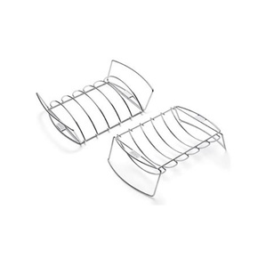 6469 Stainless Steel Reversible Barbecue BBQ Rib & Roast Holder Rack