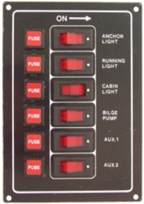 Aluminium Illuminated 6 Switch Panel Vertical- Black