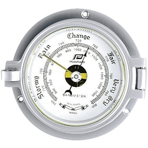 "3"" Traditional Chrome on Brass Porthole Style Barometer"