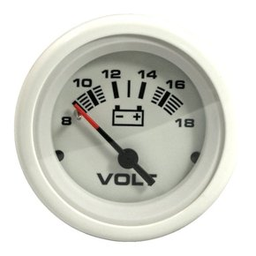 Arctic White 50mm Domed Voltmeter (8-18 volts)