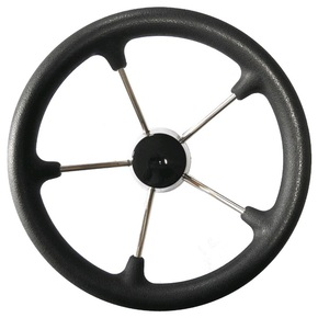 "5 Spoke 13.5"" SS Steering Wheel - Black Grip"
