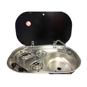 2 Burner SS Hob with Sink, Glass Lid & Folding Tap
