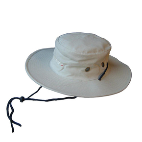 Natural Canvas Traditional Stiff Brim Boating / Sailing Hat - Cream Large