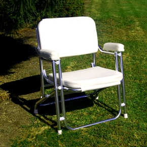Deluxe Folding Alloy Deck Chair - White