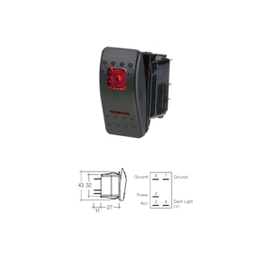 20 Amp Red LED Waterproof Rocker Switch Off - On