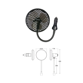 12v 2- Speed Cigarette Socket Mount Oscillating Fan