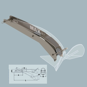 MaxSet Bow Roller for 4-6kg Anchor - S/S Satin Finish 465mm
