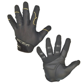 Ocea Black Fishing Gloves Pair (Full Fingers) - Mens Large
