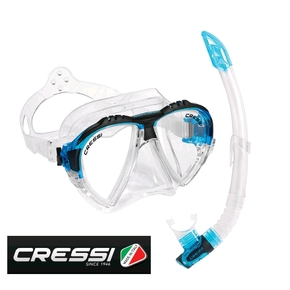 Matrix Mask & Gamma Snorkel Dive Set - Clear Silicone / Blue