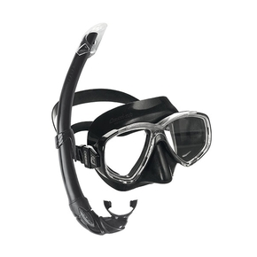 Perla Spearfishing Mask & Mexico Snorkel Set - Dark
