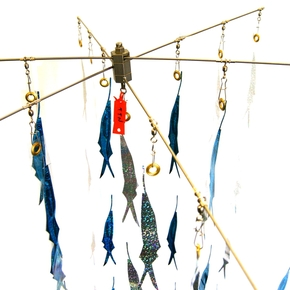 "Titanium Collapsible Dredge 36"" x6 Arm Rigged with 19 Drops / 76 Blue Ballyhoos"
