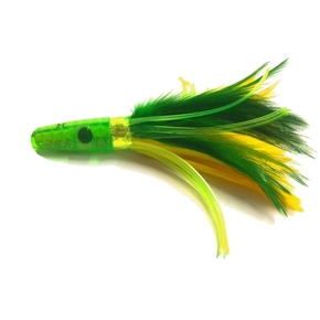 ZF 1L Feather Trolling Game Lure- Green/Yellow 6''