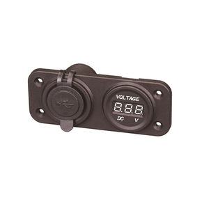 Recess Mt Female Twin USB Cig. Socket w/Voltmeter