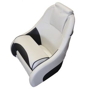 Ocean 51 Deluxe Flip Up Seat w/Rear Pocket/Headrest - White/Charcoal