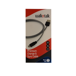 WALK N TALK  CHARGE & SYNC CABLE - MICRO USB BLK/WH 1MTR