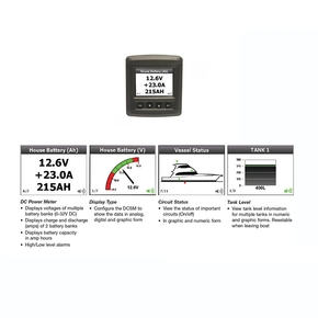 Digital DC System Monitor - Amps/Volts/Tanks
