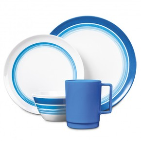 Ocean Blue Melamine Dinner Set - 16 pc