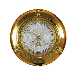 Surface Mt Brass Dome LED Cabin Light - 12v - 10cm
