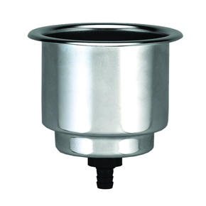 SS 88mm Recessed Flush Drink Holder w/Drain