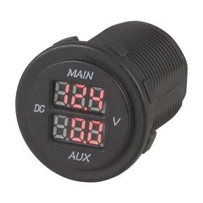 Dual Battery LED Flush/Surface Mount Voltmeter 10-60v