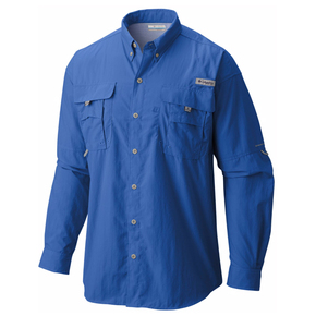 Mens Bahama II Long Sleeve Fishing Shirt Size Large Vivid Blue