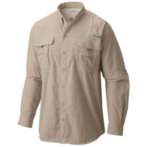 Mens Bahama II Long Sleeve Fishing Shirt - Fossil