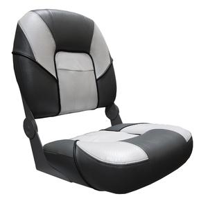 Deluxe Premier Folding Seat w/Pocket - Black/White