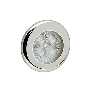 Chrome/White 4 LED Hi Power 75mm Cabin Light - Flush Mount