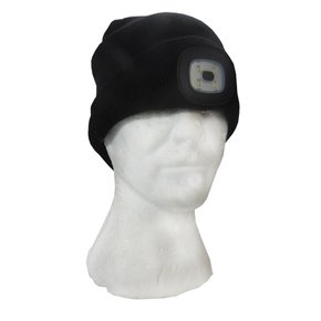 Beanie with Built in LED Light Rechargable Black (One Size Fits All)