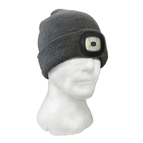 Beanie with Built in LED Light Rechargable - Grey (One Size Fits All)
