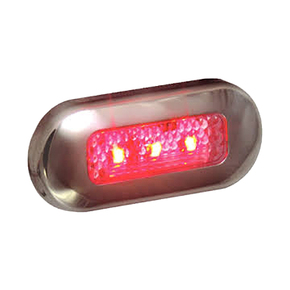 Water Resistant SS Red 3 LED Mini Courtesy/Step Light - 12v