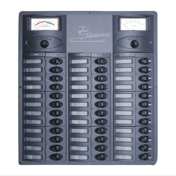 36CBAV 24v Circuit DC Panel - 36-Way Panel plus Analog Ammeter/Voltmeters