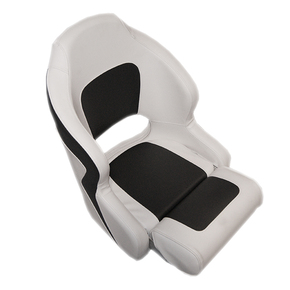 Ocean 52 Deluxe Seat Flip Up Seat w/Rear Pocket- White/Charcoal